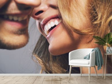 Close up photo of cheerful young couple
