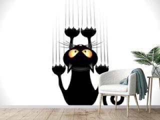 Cat Cartoon Scratching Wall-Gatto nero Graffia Muro