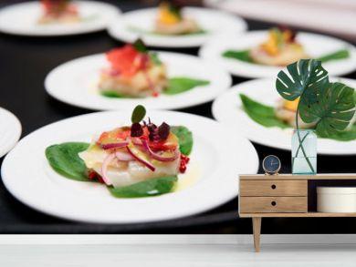 Sea scallop carpaccio dishes