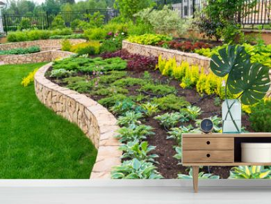 Landscape design in home garden, landscaping of residential backyard or yard