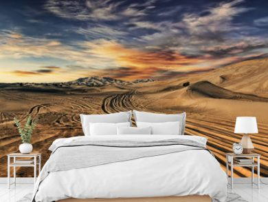 Dubai desert with beautiful sandunes during the sunrise