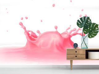 Strawberry Milkshake splash close up, viewed from a side.