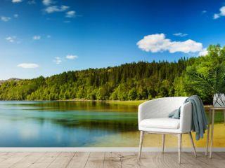 Panoramic long exposure shot of a lake in Northern Norway