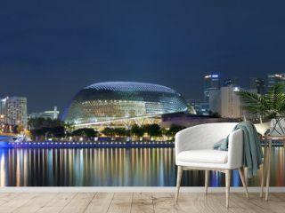 Panorama of Singapore city at night