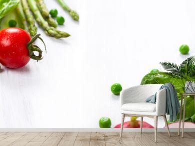 Fresh vegetables on the white wooden table