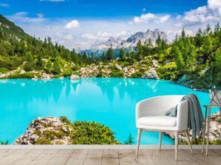 Turquoise Sorapis Lake  in Cortina d'Ampezzo, with Dolomite Moun
