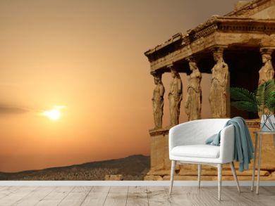 Caryatids on the Athenian Acropolis at sunset, Greece