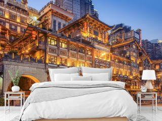 Chongqing, China at Hongyadong Hillside Buildings