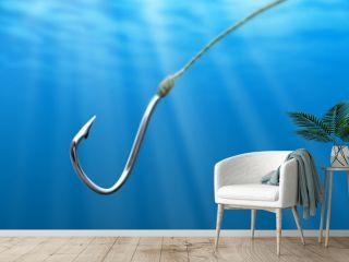 Fishing hook in the sea