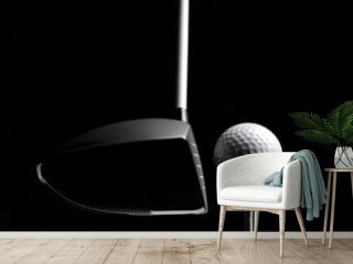 Golf Wood with a Golf Ball and Golf Tee Isolated on Black