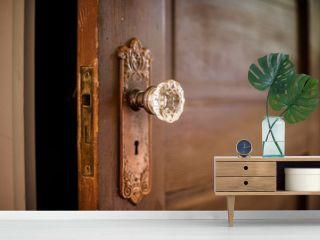 Wooded door with antique door knob.