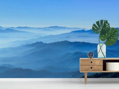 misty morning horizons blue tones