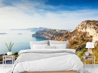 Mountain road to the port on Santorini island, Greece