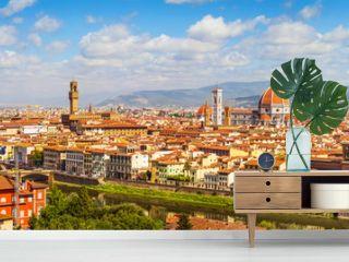 Florence panorama Ponte Vecchio, Palazzo Vecchio, Cathedral Santa Maria Del Fiore and Basilica di Santa Croce from Piazzale Michelangelo (Tuscany, Italy)