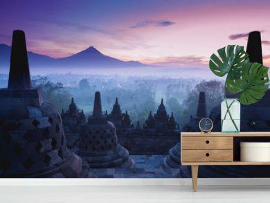 Borobudur Temple is sunrise, Yogyakarta, Java,