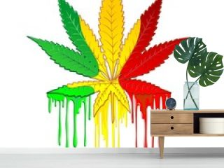 Marijuana Leaf Rasta Colors Dripping Paint