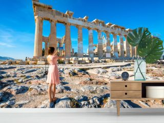 Woman photographing Parthenon temple in Acropolis