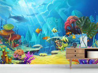 Illustration: The mountain in the sea - Fish is like bird. - Scene Design - Fantastic Style