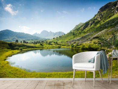 Mountain lake in summertime