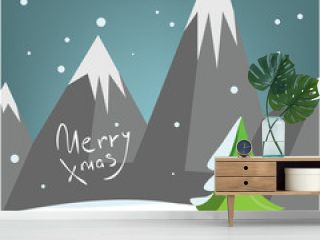 Decorative Christmas greeting card with mountains pine tree and snow. Winter design, Illustrated party poster. Envelopment. Background. Post card