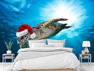 hawksbill sea turtle with santa hat  dives down into the deep blue ocean