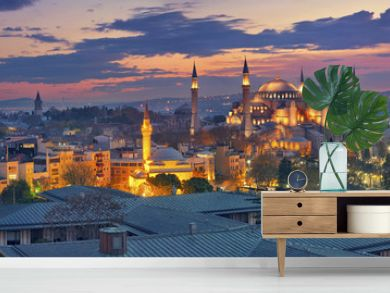 Istanbul Panorama. Panoramic image of Hagia Sophia in Istanbul, Turkey during sunrise.