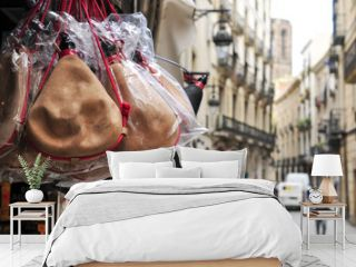 typical spanish bota bags on sale in Barcelona, Spain