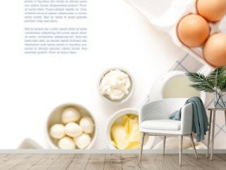 Dairy products on a white table