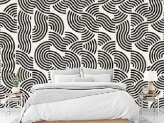 Vector Seamless Black and White Rounded Lines Irregular Retro Pattern