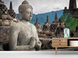 Ancient Buddha Statue at Borobudur, Yogyakarta, Java, Indonesia