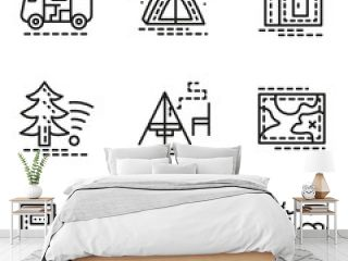Elements of camping simple line vector icons set