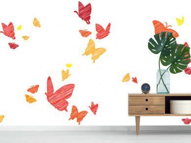 Bunte Schmetterlinge   skizziert
