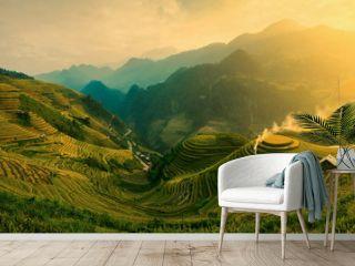 Rice fields on terraced of Mu Cang Chai , Vietnam.