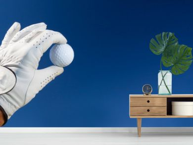 Hand wearing golf glove holding a white golf ball - large copy space on the right