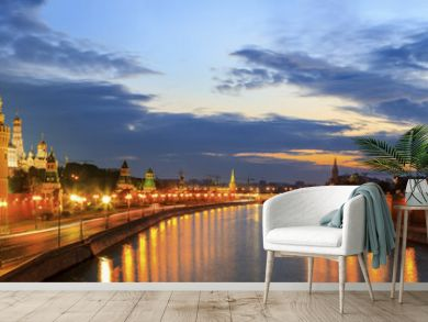panoramic photo of the Moscow Kremlin and Moscow river at sunrise