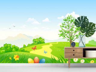 Green Easter landscape