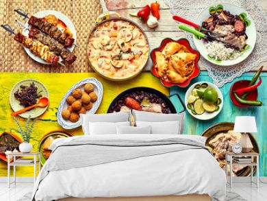 Freshly cooked feast of Brazilian dishes