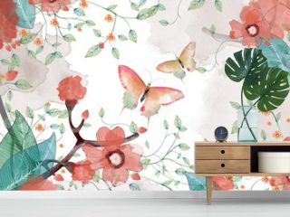 Creative Illustration and Innovative Art: Butterfly, Flower and Leaves. Realistic Fantastic Cartoon Style Artwork Scene, Wallpaper, Story Background, Card Design