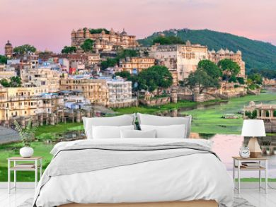 View of Udaipur, India, on sunset