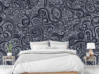Decorative hand drawn doodle nature ornamental curl pattern
