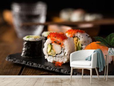 Maki and nigiri sushi