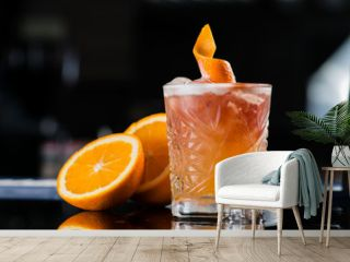 Fresh cocktail with orange and ice. Alcoholic, non-alcoholic dri