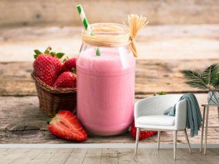 Strawberry milkshake in the glass jar