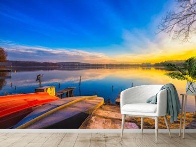 Beautiful and colorful lake landscape