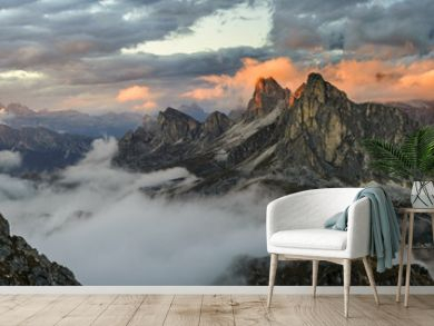 Panorama sunset mountains in Dolomite