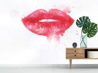 Women's lips. Hand painted fashion illustration