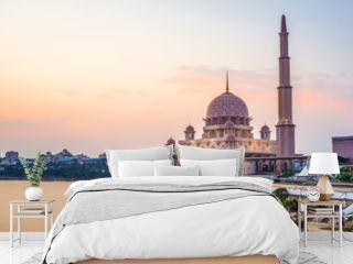 Sunset view of Putra Mosque located in Putrajaya, Kuala Lumpur, Malaysia.
