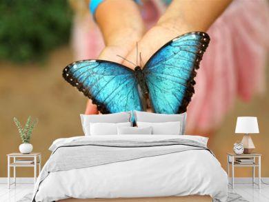 Blue Morpho Butterfly in girls hands