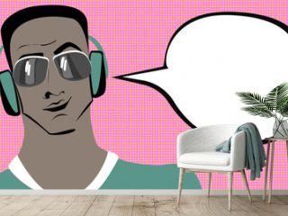 Pop art brunette swarthy man in headphones with speech bubble.