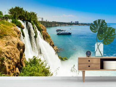 Waterfall in Antalya city Turkey, Mediterrain sea